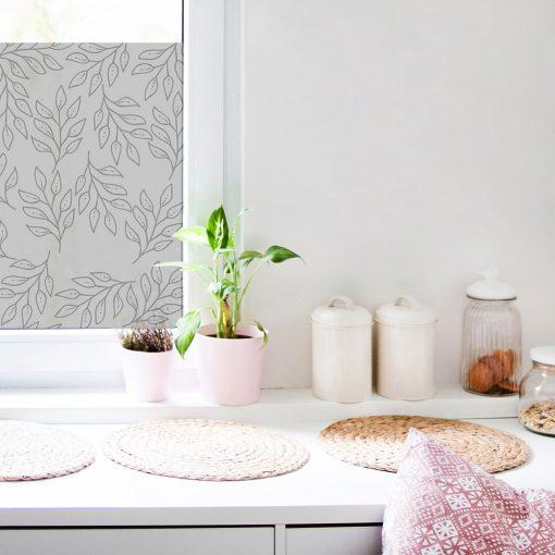 naklejka na okno w kuchni z listkami