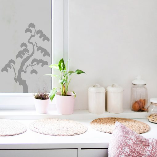 naklejka na kuchenne okno z drzewkiem bonsai