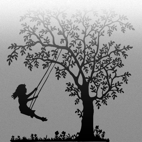 naklejka na szkło drzewo z huśtającą dziewczynką