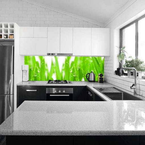 fototapeta do kuchni na szybę trawa