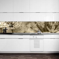 naklejka na szybę w kuchni brązowe kwiaty