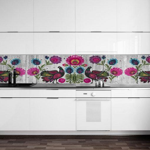 naklejka na szybe w kuchni ludowe wzory