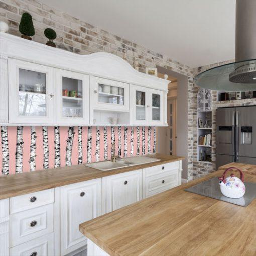 okleina z brzozami pod szybę w kuchni