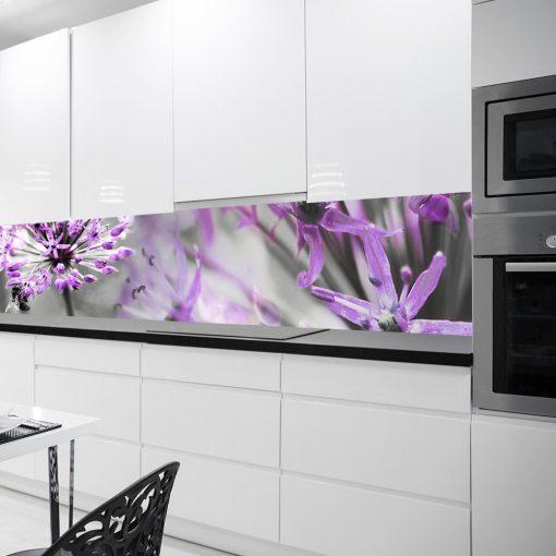 fioletowy laminat na szklane panele fioletowe kwiaty