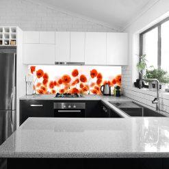 naklejka pod szybę do kuchni z pomarańczowymi tulipanami