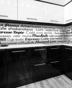 naklejka na szybę w kuchni rodzaje kawy