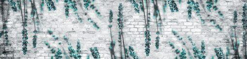 turkusowy wrzos biała cegła naklejka pod szybę