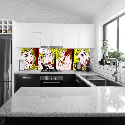 fototapeta na szybę z komiksem do kuchni