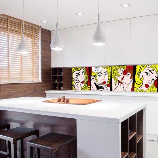 laminat na szklany panel do kuchni komiks