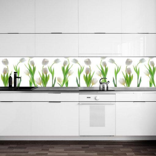 naklejka pod szklany panel w kuchni z tulipanami