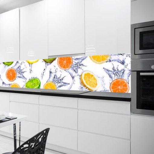 okleina na szybę w kuchni z owocami