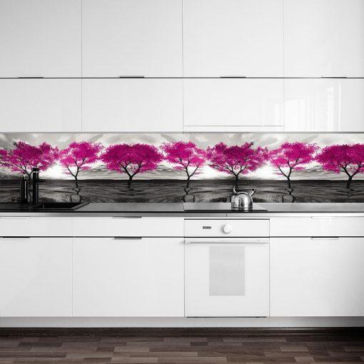 naklejka z różowymi drzewami pod szybę