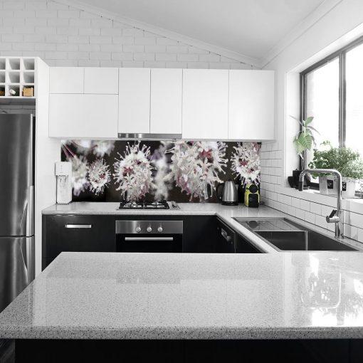 kwiatowa fototapeta na szybę do kuchni