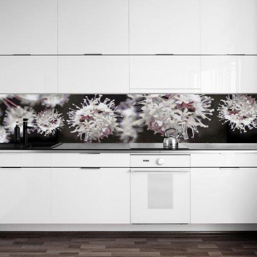 fototapeta kwiaty na szybę w kuchni