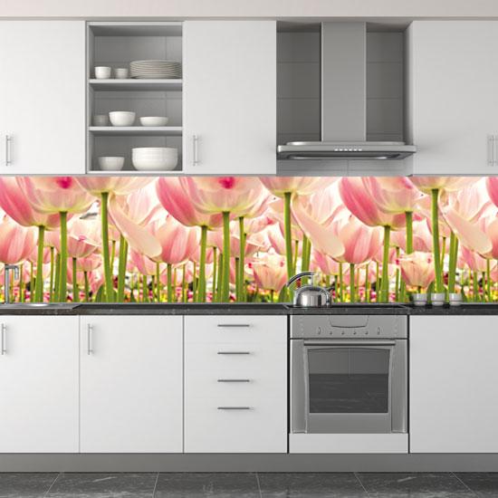 różowe tulipany fototapeta kuchnia