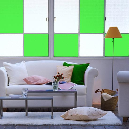 naklejka witrażowa zielona