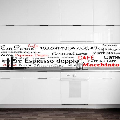 laminat na szybe w kuchni z napisami coffee