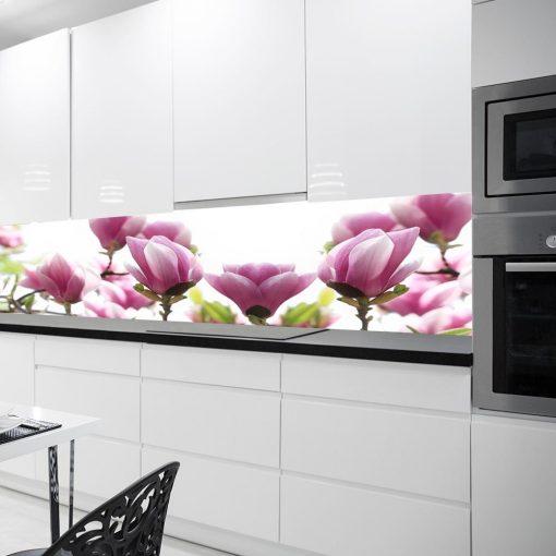 naklejka na kuchenną szybę z różowymi magnoliami