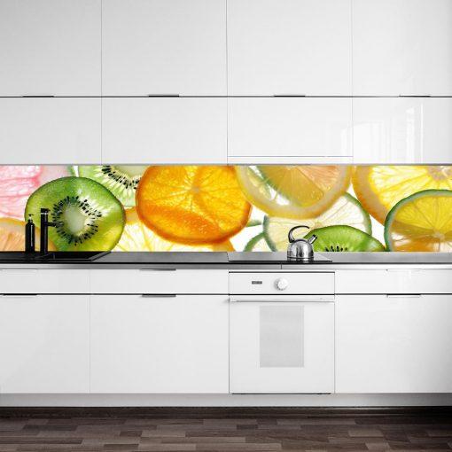 fototapeta z kolorowymi owocami pod szybę w kuchni
