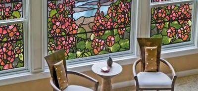 Folia witrażowa na okna - witraż tulipany