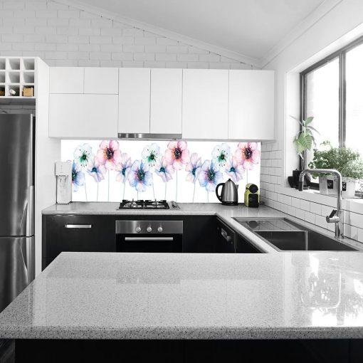 fototapeta pod szklany panel w kuchni kwiaty