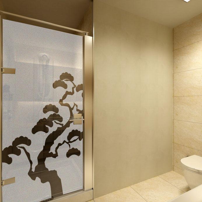 Folia na okno do łazienki - naklejka na szybę do łazienki drzewo