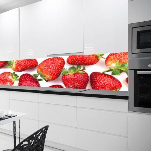 fototapeta pod szybę w kuchni truskawki