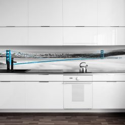 naklejka pod szybę w kuchni z niebieskim mostem