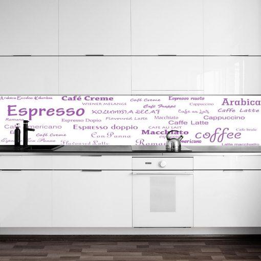 fototapeta pod szklany panel w kuchni rodzaje kawy