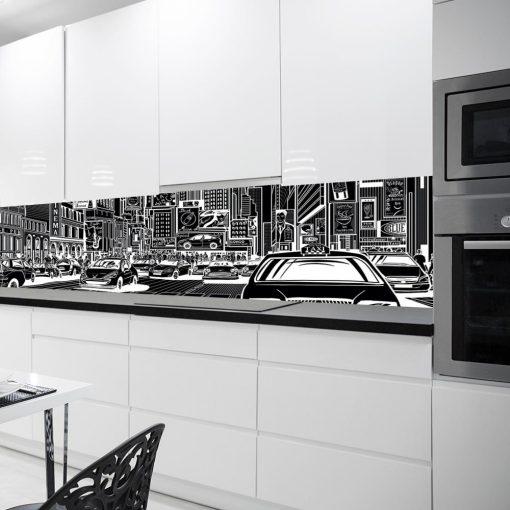 naklejka pod szklany panel miasto z komiksuu do kuchni