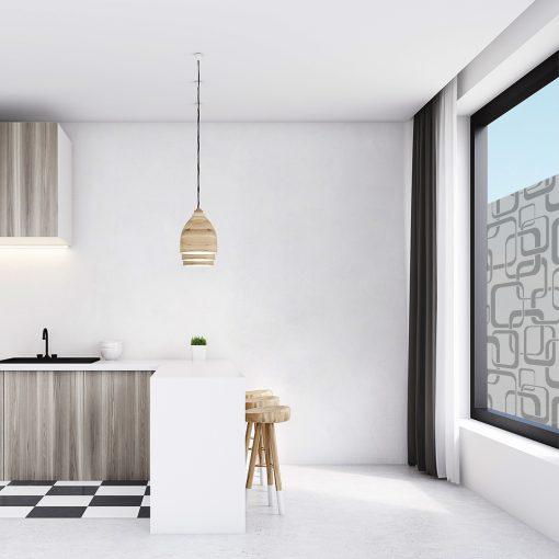 naklejka na okno w kuchni kwadraty