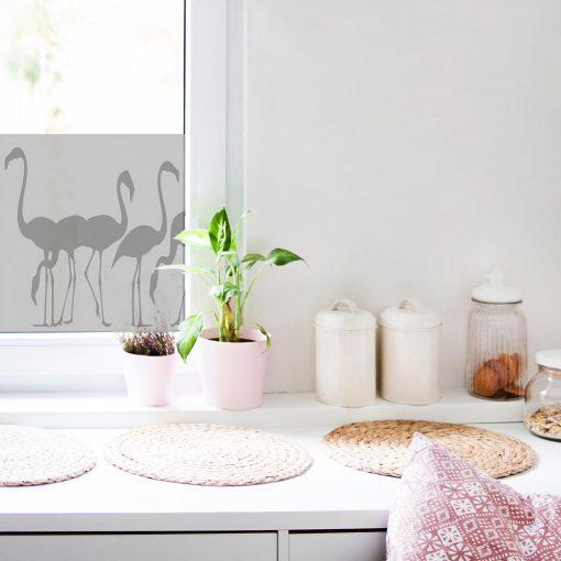 naklejka z flamingami na szybę