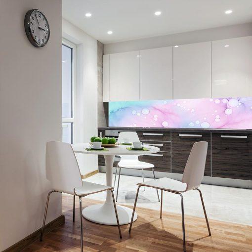 naklejka z motywem różowego wzoru na szybę do kuchni