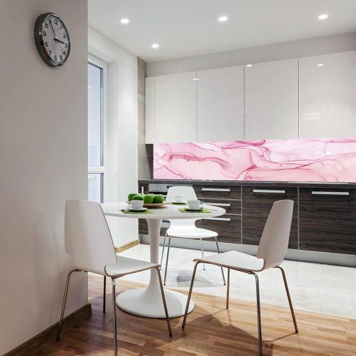 różowa okleina na szkło w kuchni
