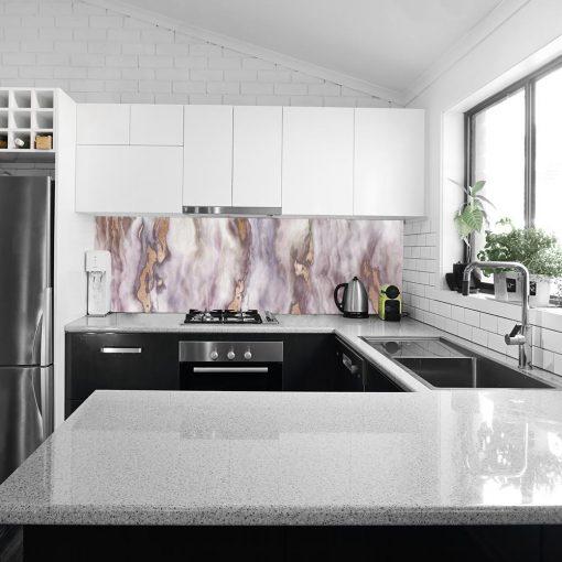 marmurowy laminat na szkło do kuchni