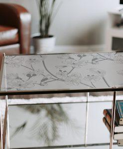 samoprzylepny obrus na szklany stół kwiaty