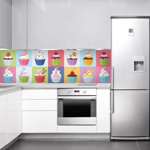 naklejka na szkło do kuchni kolorowe babeczki