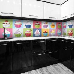 naklejka babeczki kolorowe na szybę do kuchni