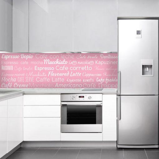różowa naklejka na szkło kuchenne z rodzajami kaw