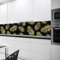 folia pod szybę do kuchni z liśćmi palmy