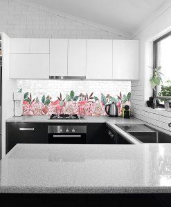 naklejka pod szkło kuchenne róże i cegły