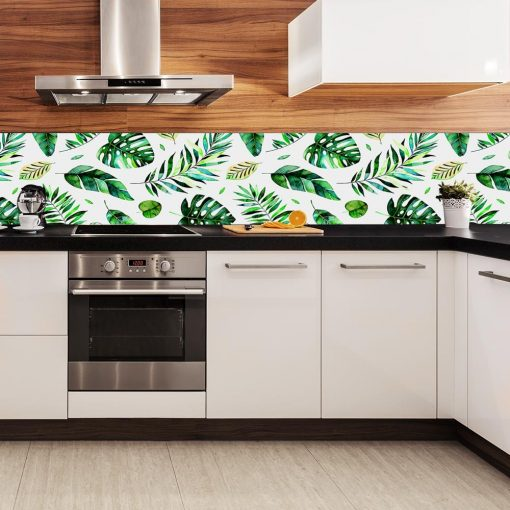 laminat pod szkło do kuchni zielone liście