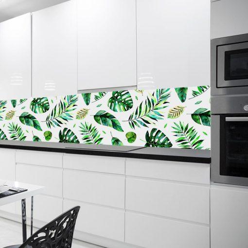 tropikalne liście tapeta pod szkło do kuchni