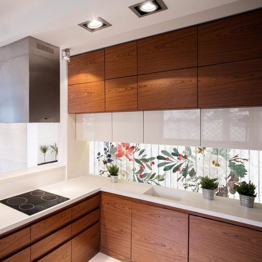 naklejka pod szkło do kuchni kwiaty i liście