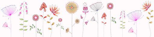 naklejka na szkło do kuchni ilustracje kwiatów
