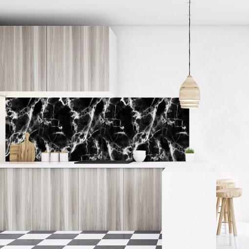 czarno-biała naklejka na szkło do kuchni