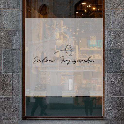 naklejka na witrynę salon fryzjerski