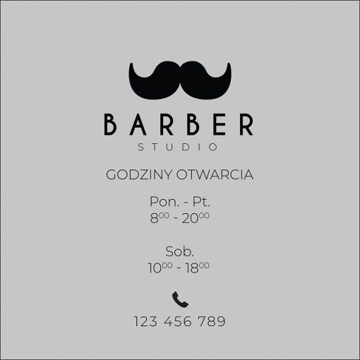 naklejka barber shop logo i godziny otwarcia