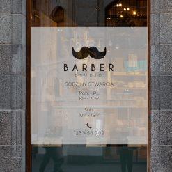 naklejka okno barber shop godziny otwarcia