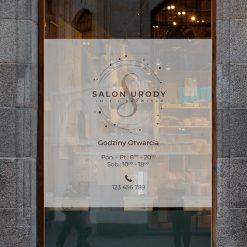 naklejka salon urody godziny otwarcia